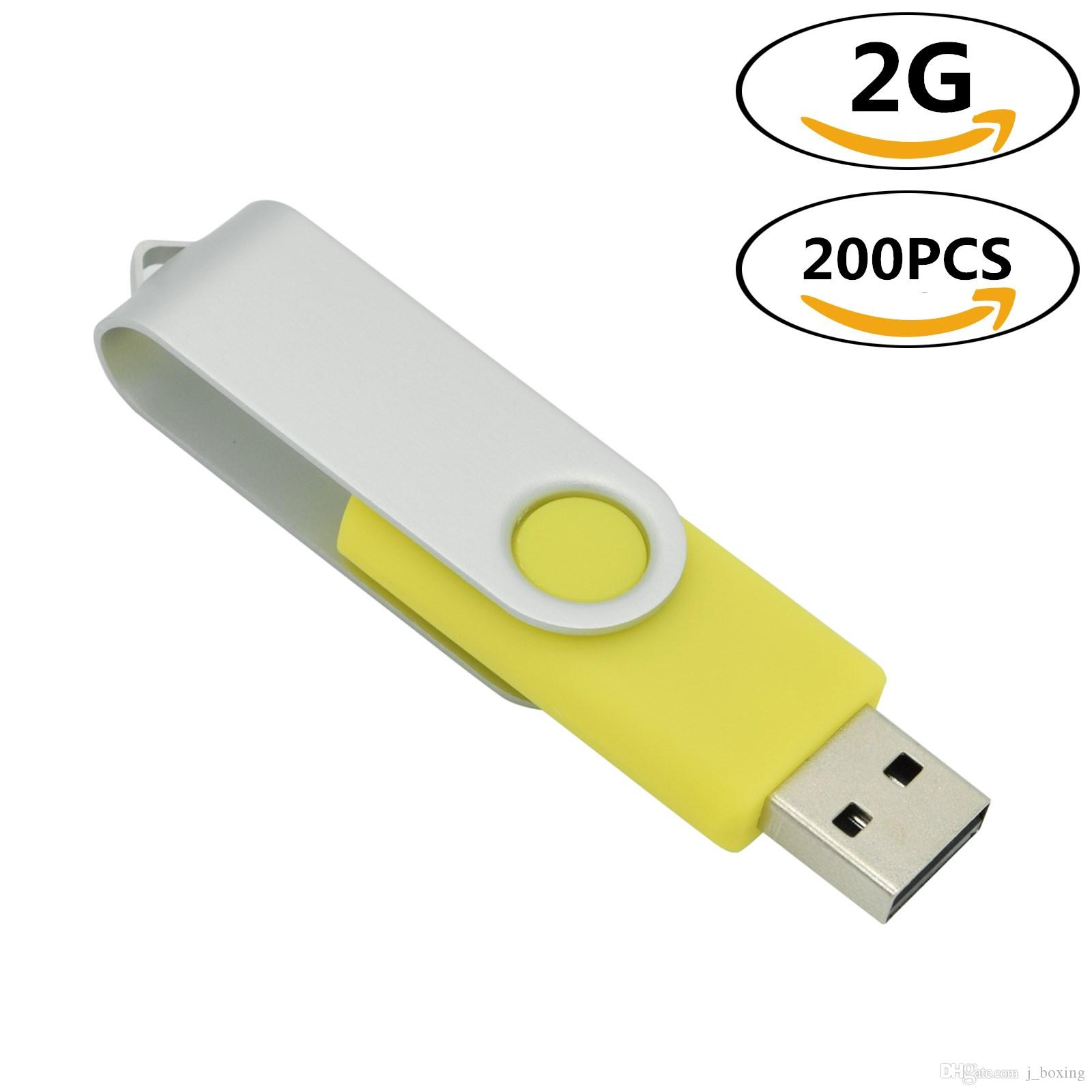 j_boxing Yellow 200PCS 2GB USB 2.0 Flash Drives Rotating Thumb Pen Drives Flash Memory Stick Pen Storage for Computer Laptop Tablet Macbook