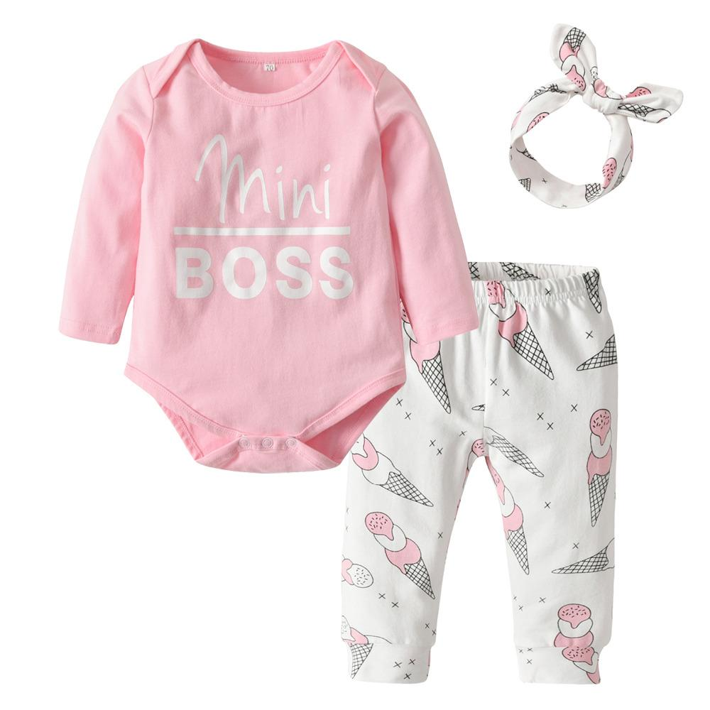 8349ae11a7119 3Pcs Newborn Infant Baby Girls Clothes Set Long Sleeve Pink Mini Boss Romper+Ice  Cream Print Pants+Headband Toddler Clothing Y18120303