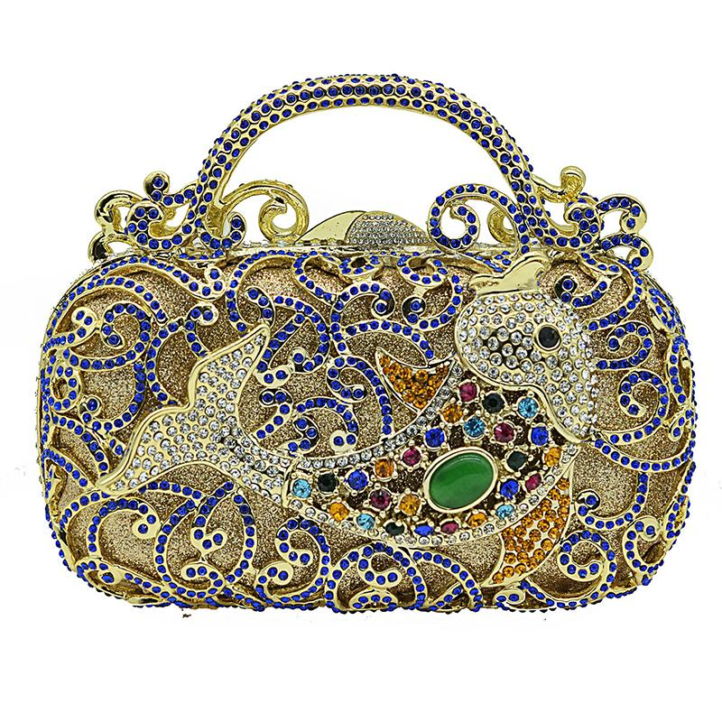 Hollow Out 3 Kinds Golden Metal Women's Bag Clutch Handbags Blue Crystal Ladies Dinner Evening Clutches Female Banquet Clutch