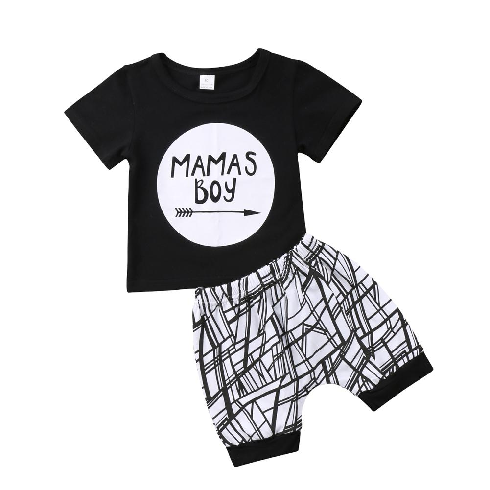 fdcfe45bc 2019 Summer Baby Clothes Mamas Boy Black T Shirt Shorts Set Geometric Pants  Outfit Sport Casual Clothes Outfit Kids Boy Clothing 0 24M From Lisamami,  ...