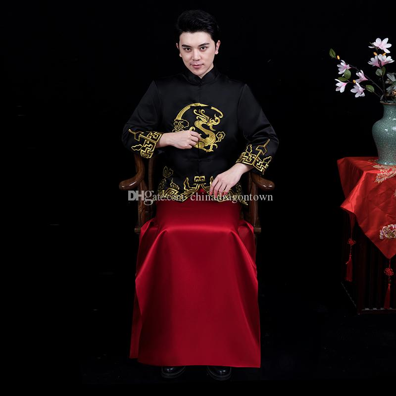 6ae1043121cc 2019 New Groom Embroidered Hanfu Tang Suit Sets Chinese Style Costume Male  Qipao Dress Traditional Ethnic Wedding Cheongsam Clothing For Men From ...
