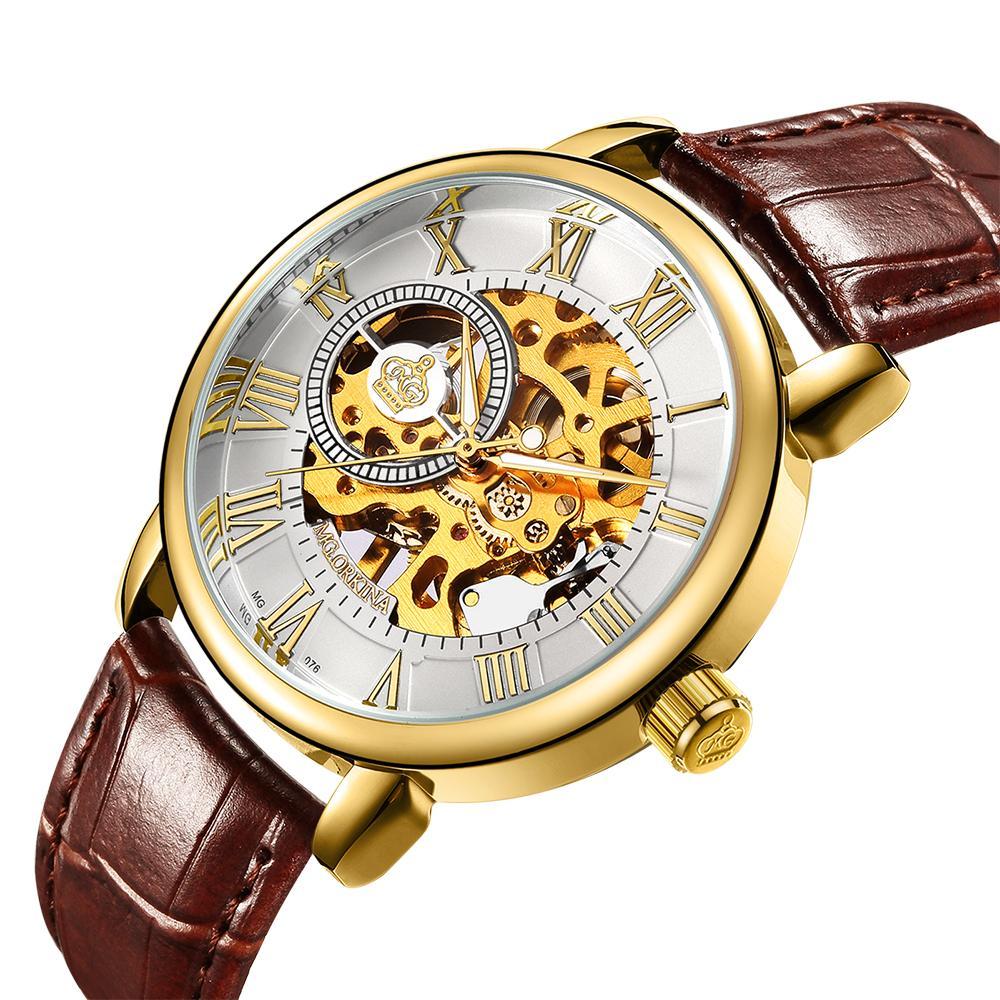 dc2e31d159b ORKINA MG Homens Relógios Top Marca De Luxo Esqueleto De Ouro Relógios  Banda De Couro Mão Mecânica Vento Assista Relógio Mecânico Homens De  Fashionkiss