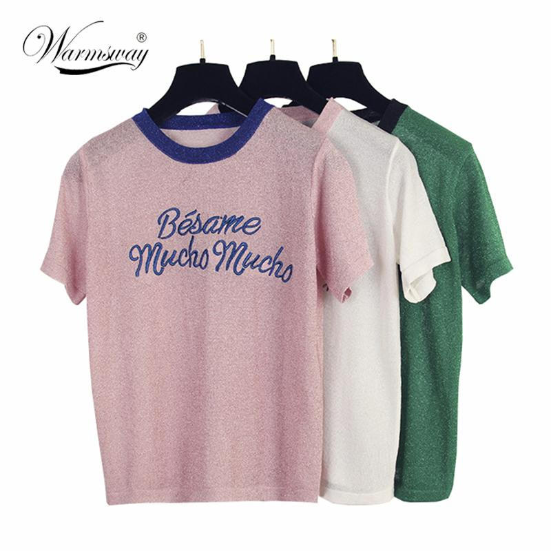 ecfbd8f838970e Korean Cute Letter Tee Shirt Femme Hipster Harajuku Lurex Womens Clothing Kawaii  Ladies Short Sleeve T Shirt Women Tops B 052J190424 Funky T Shirt Design T  ...