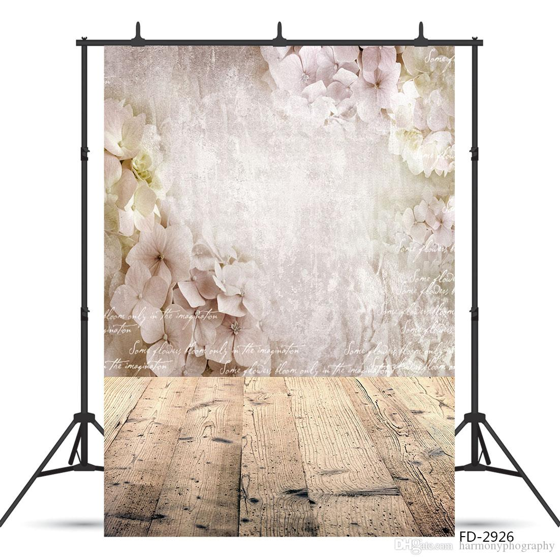 Flower Wooden Floor Photography Backdrops Computer Printed Photoshoot Background for Children Baby Lovers Portrait Pography Props Photoshoot