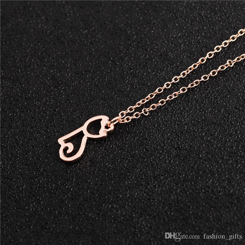 small Cute Pussy Cat chain pendant Necklace Hollow Outline Lovely Pet Cat Necklaces Simple Animal Kitty Necklaces for women Jewelry