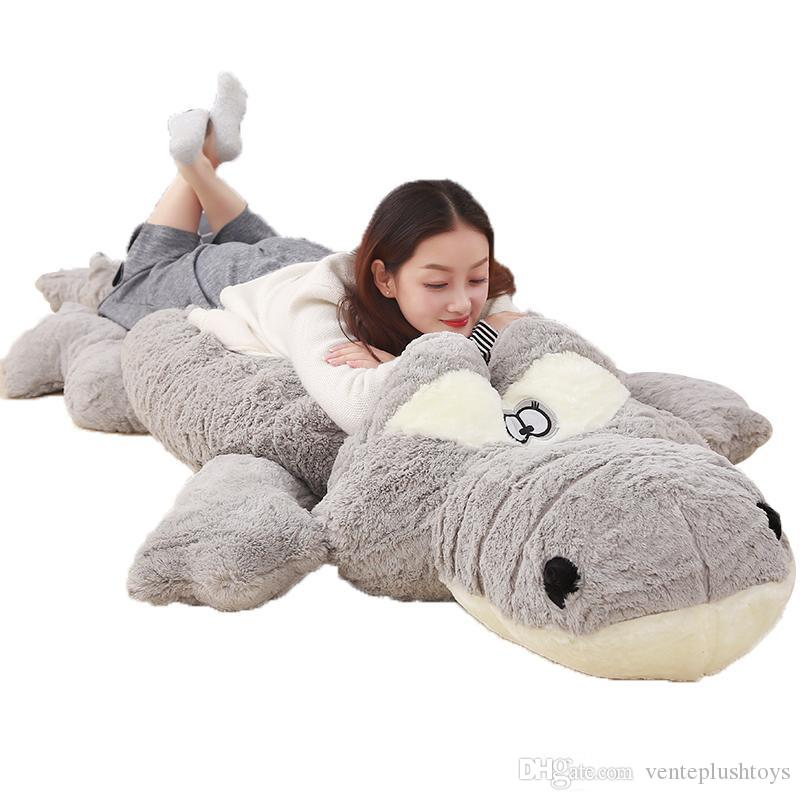 Jumbo Cartoon Crocodile Plush Toy Large Stuffed Animals Alligator Doll Pillows for Friend Gift Deco 91inch 230cm