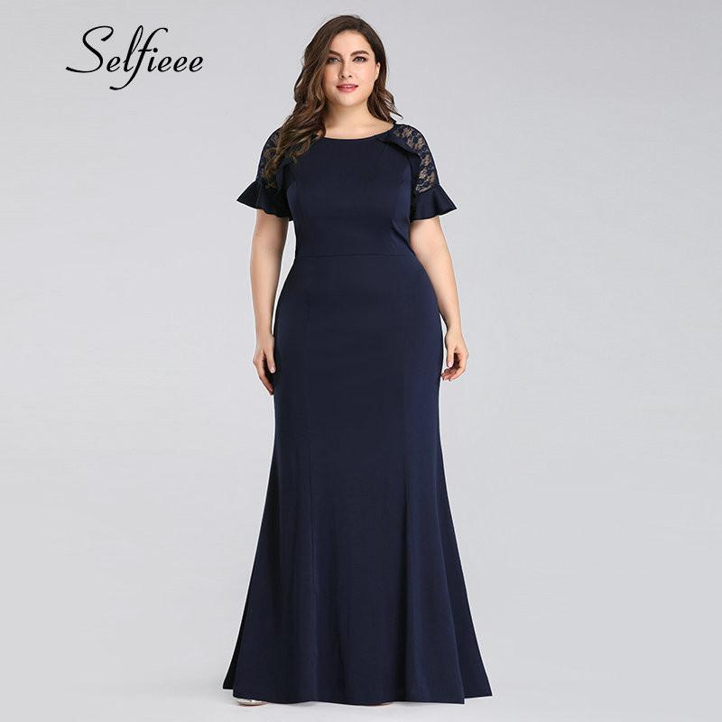 Plus Size Dresses For Women 4xl 5xl 6xl New Fashion Navy Blue Mermaid Dress  O Neck Short Sleeve Long Dresses Woman Party Night