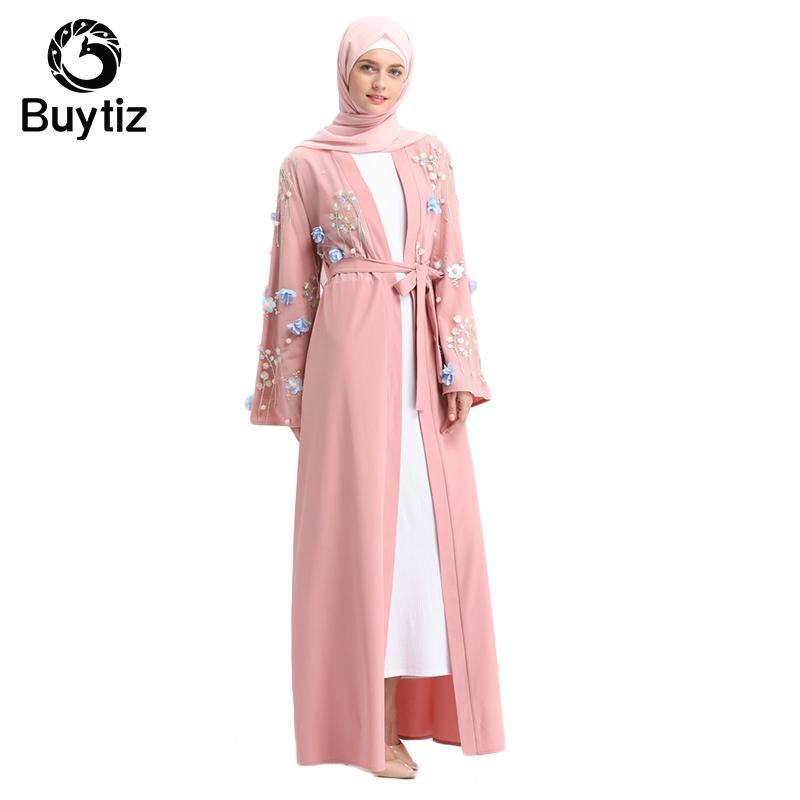 7678f1acdf9253 Emirats Arabes Unis Dubaï Kaftan Islam Islam Femmes Longue Floral Kimono  Kimono Cardigan Robe Hijab Turc Elbise Mubarak Islamique Vêtements