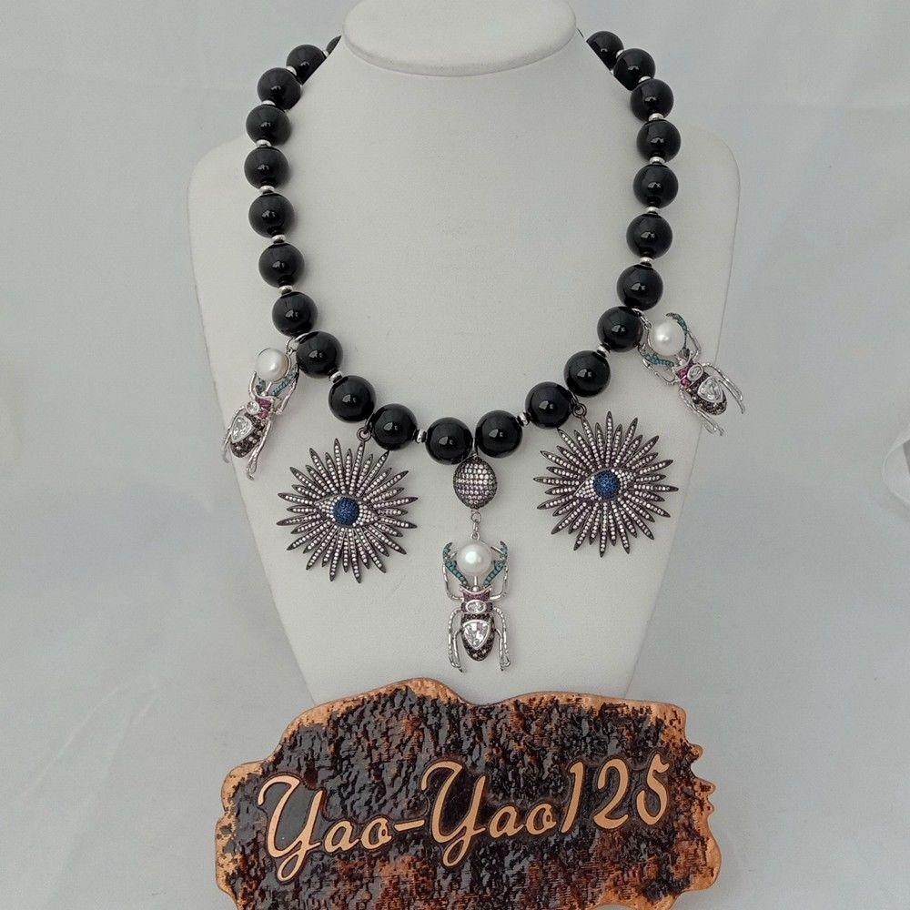 6373885c7710e Women s 18   3 Strands Round Oval Black Onyx Stone Necklace Online ...