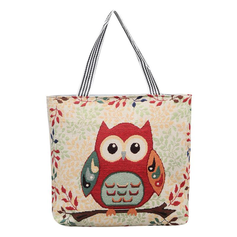 good quality Cute Owl Print Canvas Shoulder Bag Women Messenger Bags Large Capacity Embroidery Foldable Shopping Bag Ladies' Handbag