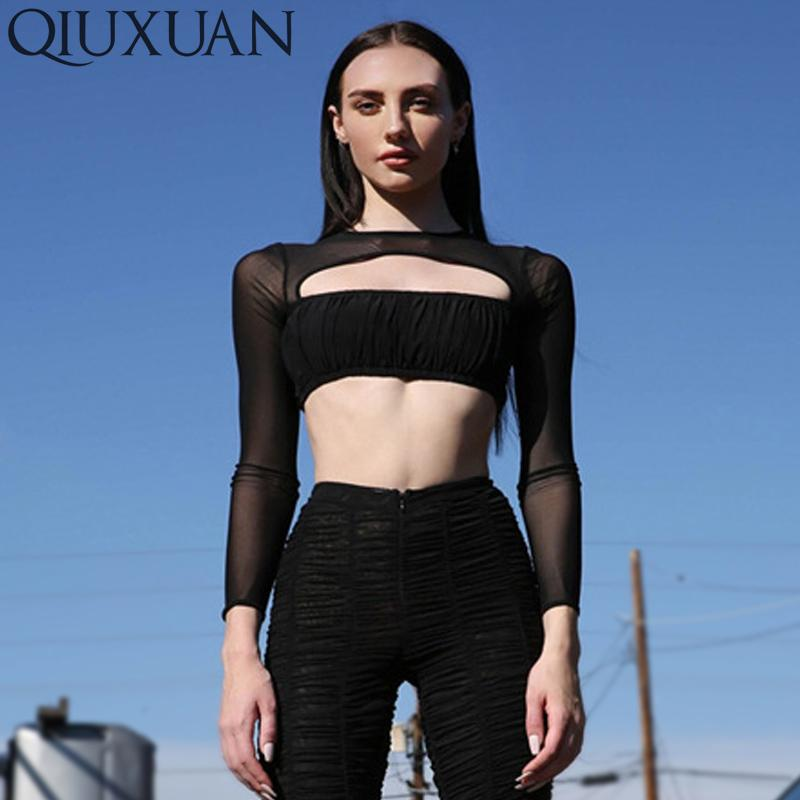 f4dd4cb2d5e Qiuxuan Spring Autumn Women Fashion New Party Club T Shirt Long Sleeve  Round Neck Hollow Out Mesh Patchwork Sexy Solid Crop Tops Very Funny T  Shirts Witty ...