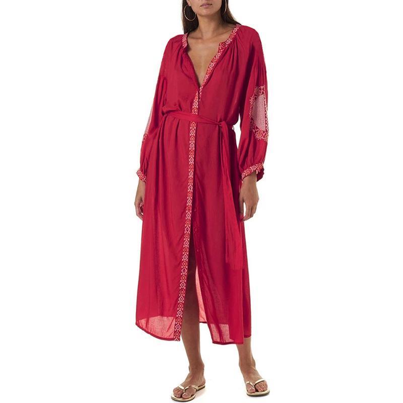 2020 Vintage floral atractivo del traje de baño de los encubrimientos playa de las mujeres de la cubierta Cover Up Cardigan baño bikini subidas del traje del vestido de la playa de la piscina
