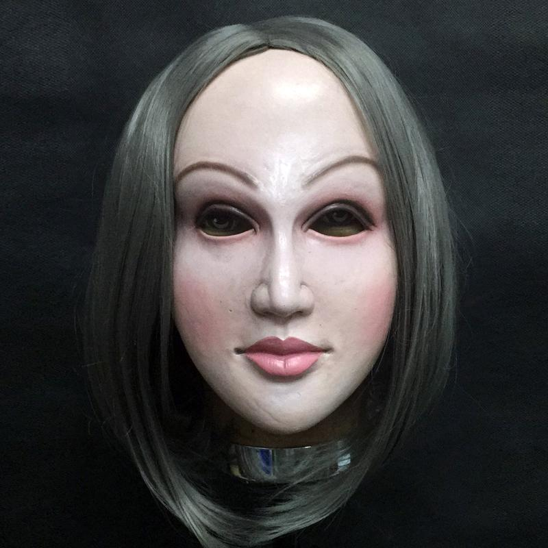 Realistic Female mask Disguise Self halloween latex realista maske Crossdresser Doll Mask Lady Skin Mask Y200103
