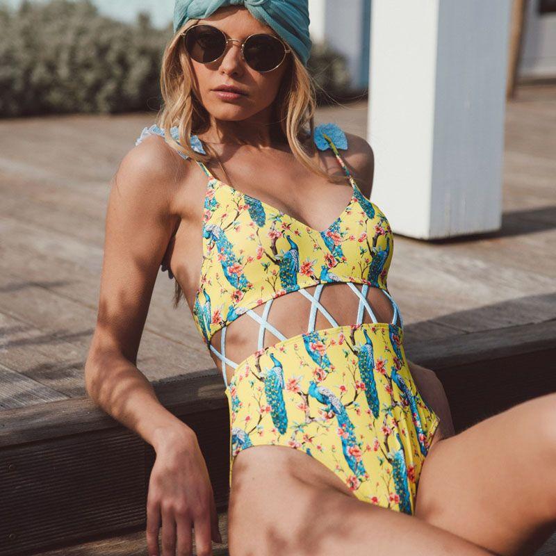 d4615d67e1a Women Swimwear Sexy Ruffle One Piece Swimsuit Push Up Monokini ...