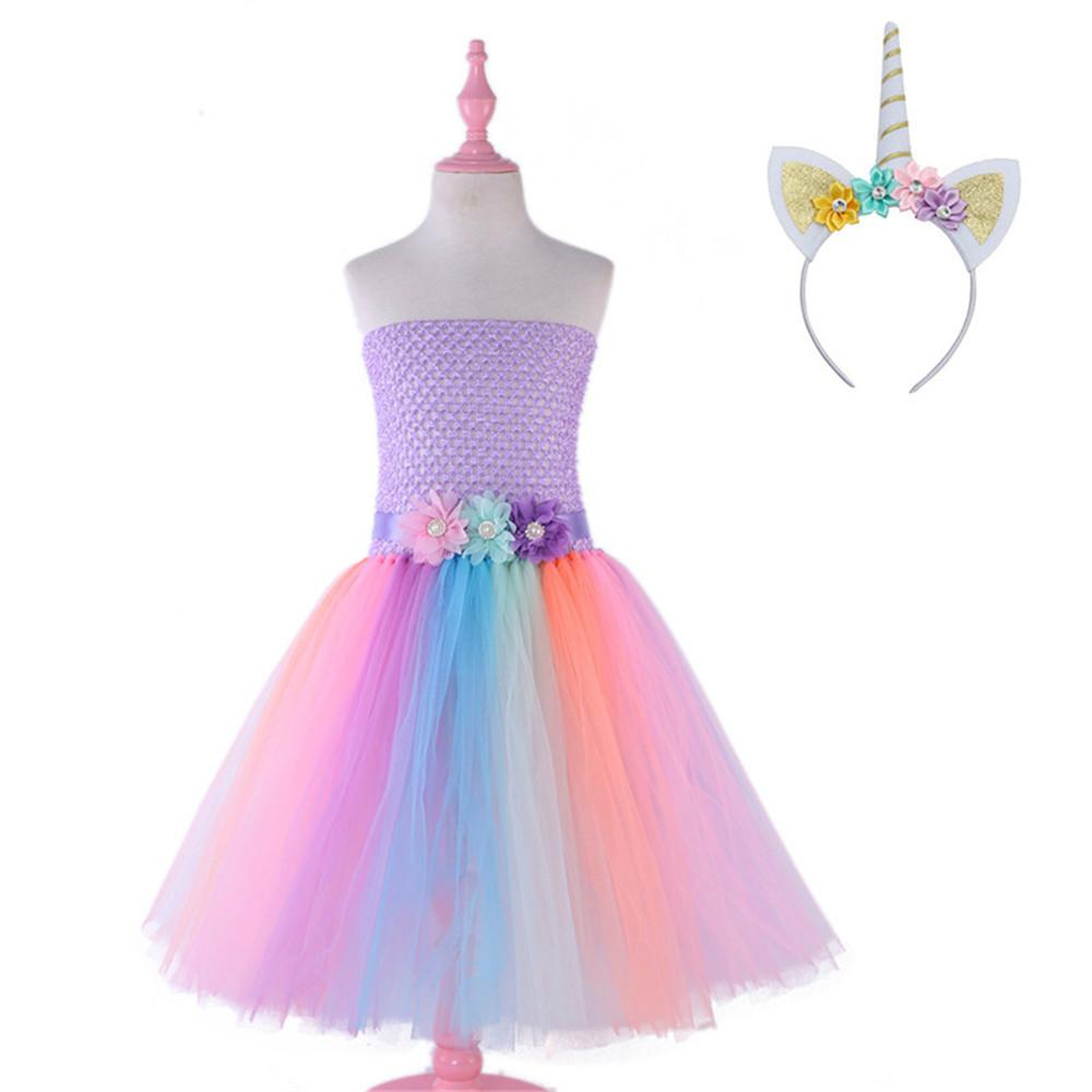 85edbbb7fff7 Girls Unicorn Tutu Dress Pastel Rainbow Princess Girls Birthday Party Dress  Children Kids Halloween Unicorn Costume Top Group Halloween Costumes Group  ...