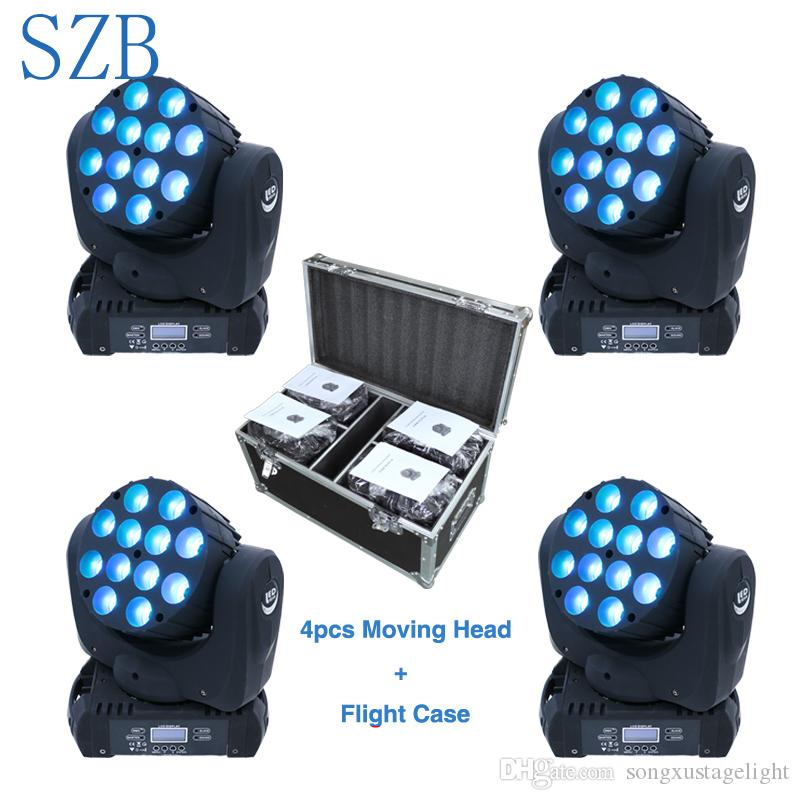 SZB 12x10w LED beam moving head light flight case packaged 4in1 4pcs DMX DJ Lighting Stage Light/SZB-MH1210A