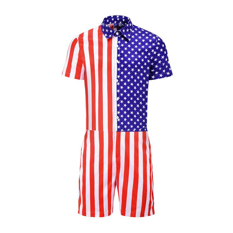 72f5816cc7d 2019 US Flag Mens Rompers Short Sleeve Jumpsuit Romper Playsuit Beach Overalls  One Piece Slim Fit Men Summer Street Party Wear From Youfanweistore