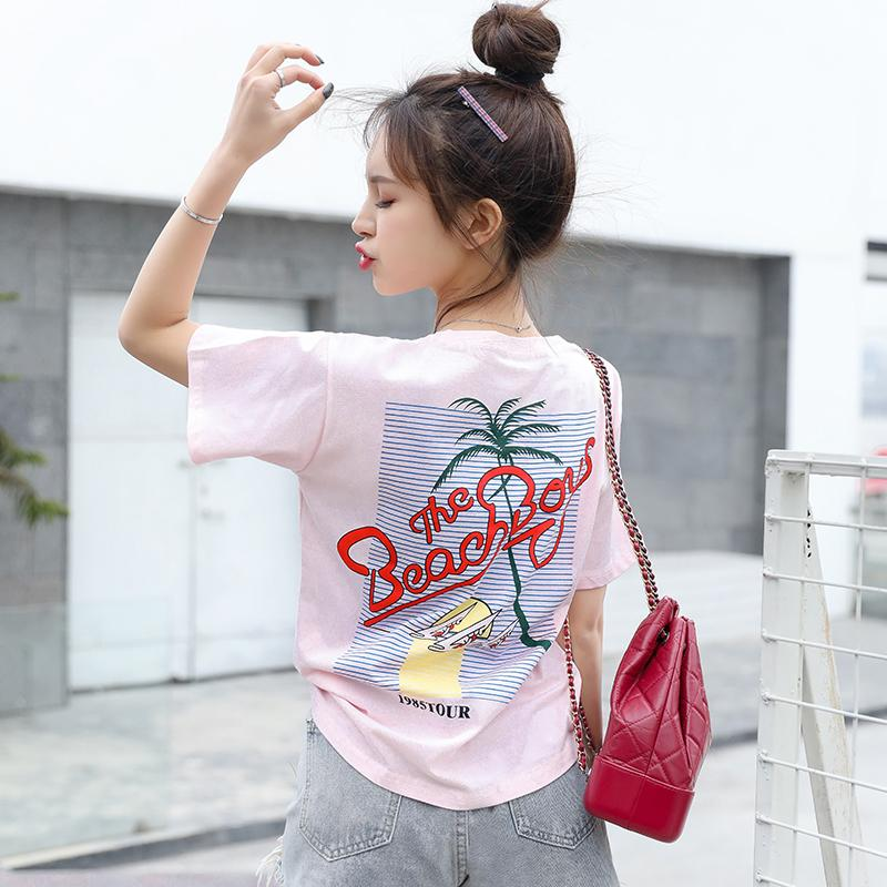 Harajuku Loose t shirt Korean Girls Tees pink white top Streetwear Women Print basic T-shirts short Sleeve kawaii tshirt female
