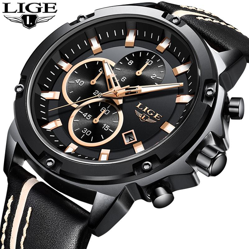 f76a3cb0026 LIGE Mens Watches Fashion Chronograph Male Top Brand Luxury Quartz Watch Men  Leather Waterproof Sport Watch Relogio Masculino+B
