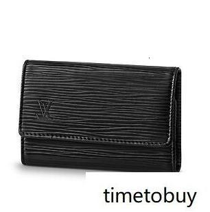 M63812 6 Key Holder Water Ripple Black Real Caviar Lambskin Chain Flap Bag Long Chain Wallets Key Card Holders Purse Clutches Evening