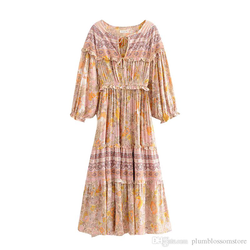 Frill long sleeve women long dress floral print V-neck spring summer Bohemian beach seaside dresses 2019 gypsy chic women holiday maxi dress
