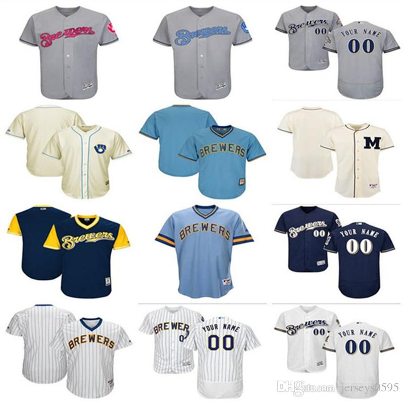 release date: 0b263 1240f 2018 custom Men's women youth Milwaukee Brewers Jersey Any Your name and  your number Home Blue Grey White Kids Girls Baseball Jerseys