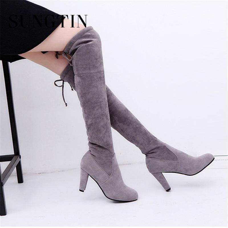 35d09bcc79e2 Sungtin 2019 New Flock Women Over The Knee Boots Faux Suede Leather High  Heels Boots Ladies Shoes Sexy Thigh High Winter Mens Shoes Mens Boots From  ...