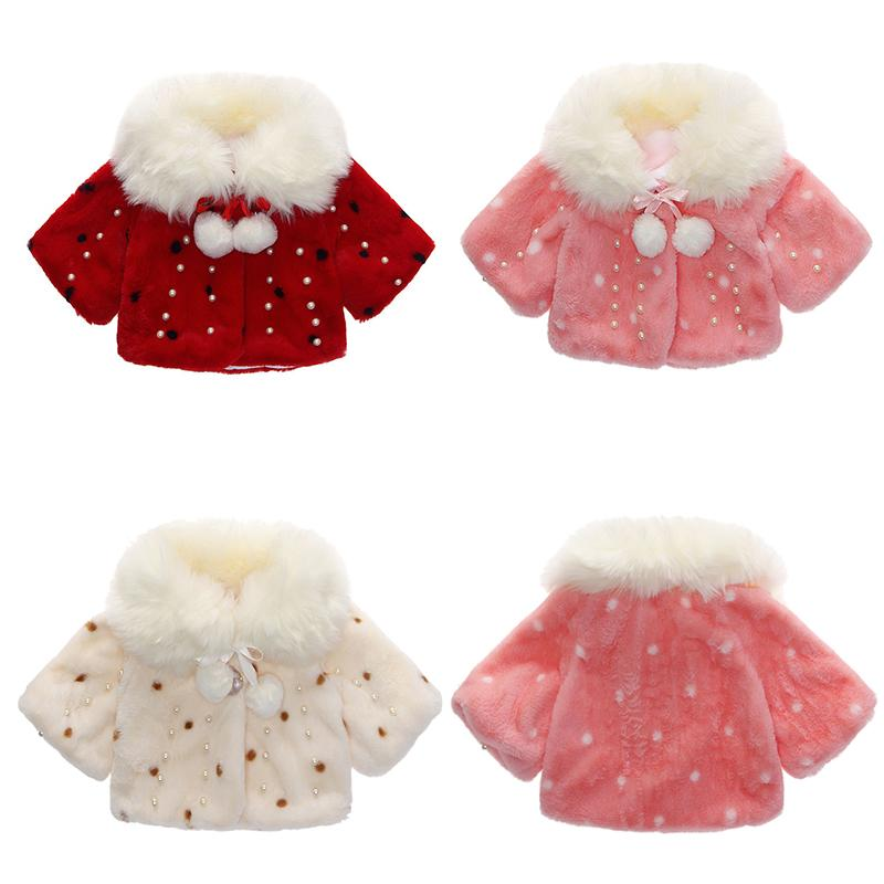 New Winter Girls Coat Faux Fur Children Baby Cloak Pearl Buttons Kids Jacket Plus Velvet Thick Christmas Red k1