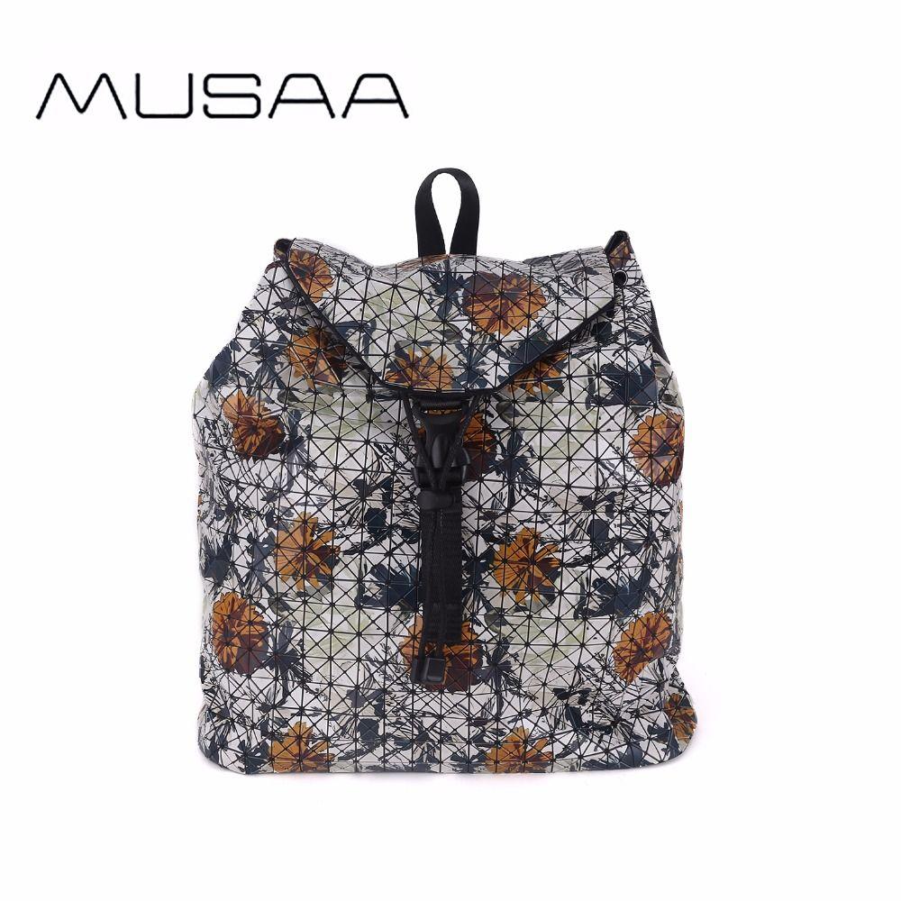 0c665a36c16a MUSAA Flower Printing Diamond Folding Backpack for Teenage Girl's Fashion  Women PU Leather High Capacity Bag New Bolso