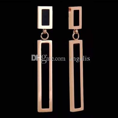 Rectangle Titanium steel alloy Rose gold Geometric shape earring European and American minimalist elements personalized jewelry 10 styles.