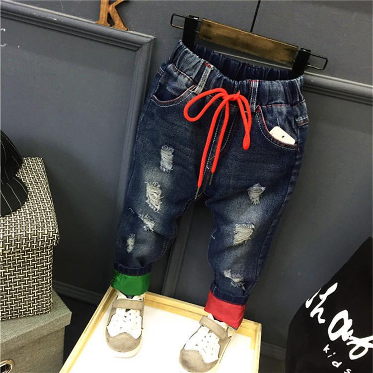 f5a0df5e WNLEIGEL Boys Fashion Autumn Jeans Kids Holes Casual All Match Trousers  Baby Ripped New Style Clothes Children 2 7 Years Blue Jean Girls White  Skinny Jeans ...