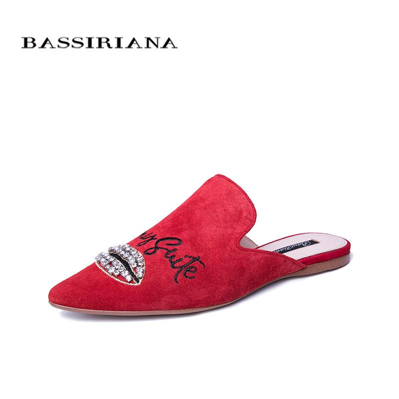 89c93e3ae BASSIRIANA New 2019 Genuine Leather Sheepskin Slippers Women Shoes Flats  Summer Sandals Black Red 35 40 Size Unique Fashion Silver Shoes Casual Shoes  From ...
