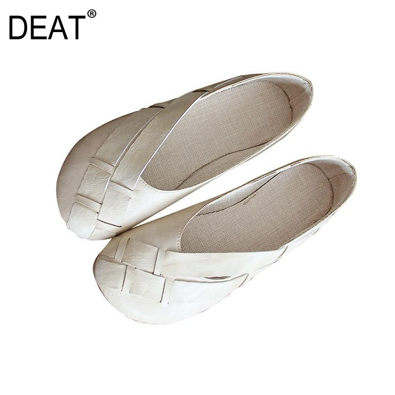 [DEAT] 2019New Spring Summer Round Toe Shallow Pu Leather Casual Simple cómodo solo zapatos planos mujeres moda marea 10B137