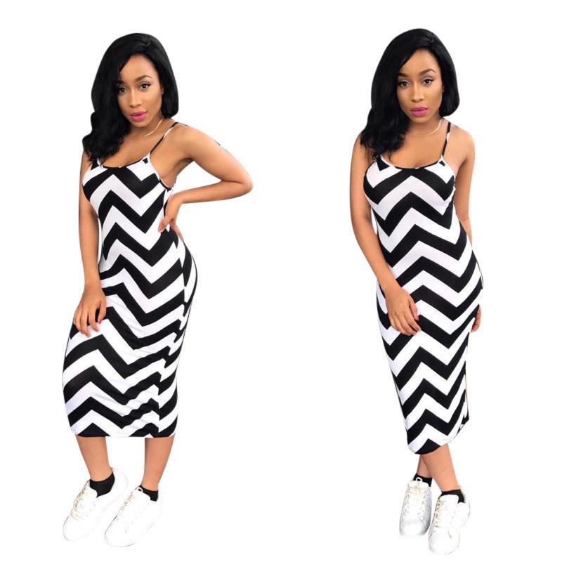 1e83061c6ba83 P8207 2019 Women S Clothes Large Code Wave Stripe Sexy Camisole Women Dress  Fashions Woman Maxi Plus Models Clothing Ladies Dressed Dresses Black  Strapless ...