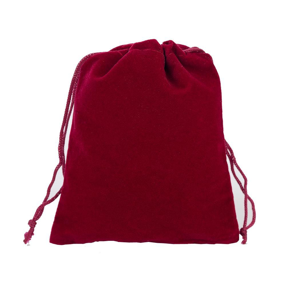 7x9 cm Vermelho Escuro Varejo Jóias Embalagem de Presente de Veludo Sacos de Cordão Bolsas, saco de Presente de Natal / Casamento