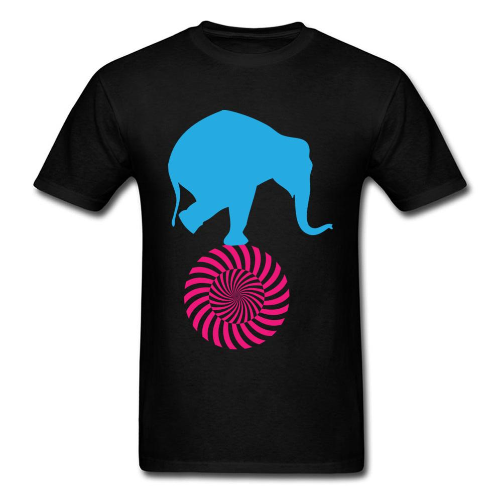 Plain Men T Shirt Elephant On Wheel T-shirt Printed TShirt 100% Cotton Short Sleeve Tops Black Tee Cute Clothing Free Shipping