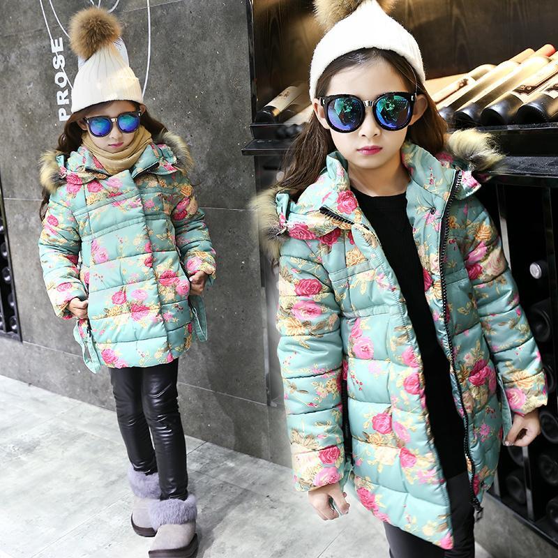 309b81cb8dcd Kids Winter Clothes Jackets Coats For Girls Flower Print Costume Hooded  Outerwear Children s Thick Warm Parka Girls Down Jacket