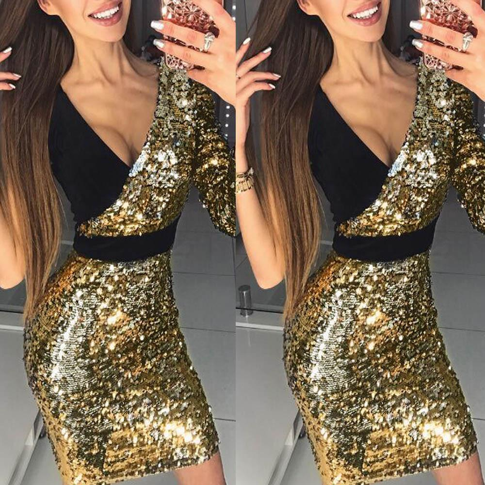 Good Quality Summer Women Dresses 2019 Sexy Bodycon Deep V Neck Patchwork  Slim Bling Sequins Splice Mini Dress Female Clothing Party Dresses Gold  Cute Red ... e34dad404