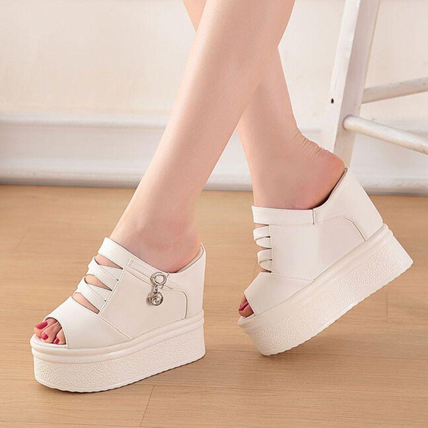 chic black white platform wedge sandals fashion luxury women designer shoes size 34 to 39