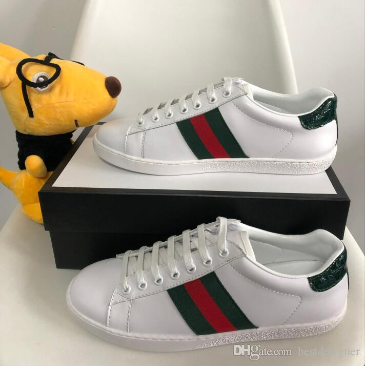 7eec1b7e09 Original Box New Designer Scarpe da uomo con le donne di alta qualità  Designer Luxury Sneaker Uomo Casual Ace Shoes Green Red Stripe Size 35-46