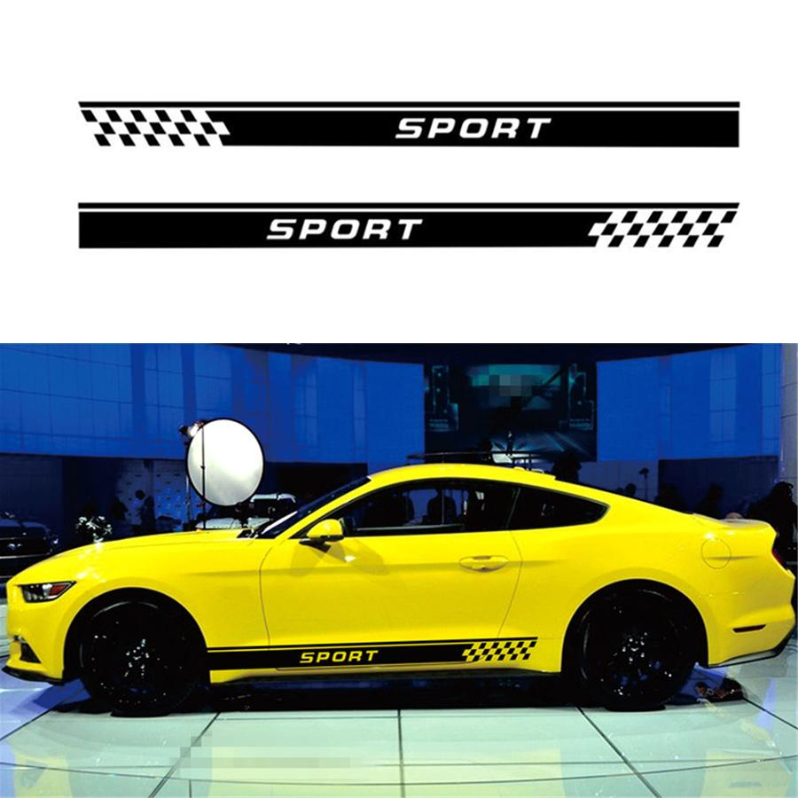 2pcs car sticker both side body vinyl decal sports racing race car long stripe decals