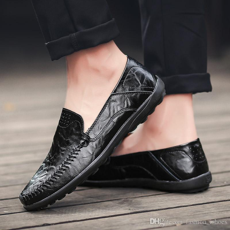 0027655a7dbc Big Size Handmade Genuine Leather Men Casual Shoes Luxury Brand 2019 Mens  Loafers Moccasins Spring Autumn Slip On Black Shoes  444027