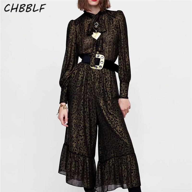 39491790b5 2019 CHBBLF Women Elegant Print Jumpsuits Bow Tie Collar Long Sleeve Rompers  Ladies Casual Pockets Playsuits WEW5228 From Boniee