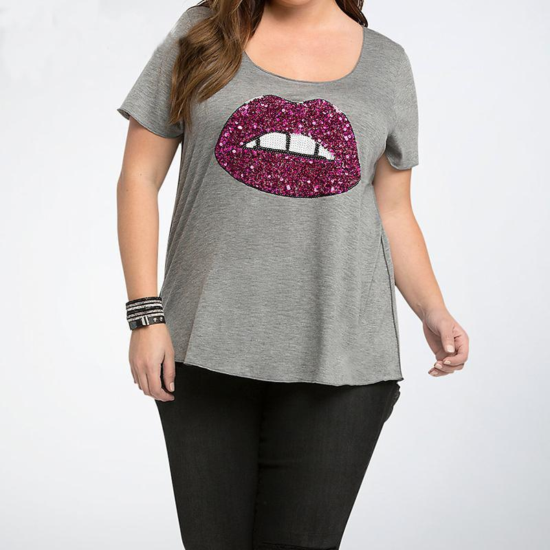 b3518b6e525 Sequin Tshirt Women 5XL 6XL Plus Size Summer Bust Red Lips Fashion Women  Clothing Cheap Clothes China O Neck Woman Cloth Funny Tee Shirts Mens T  Shirt From ...