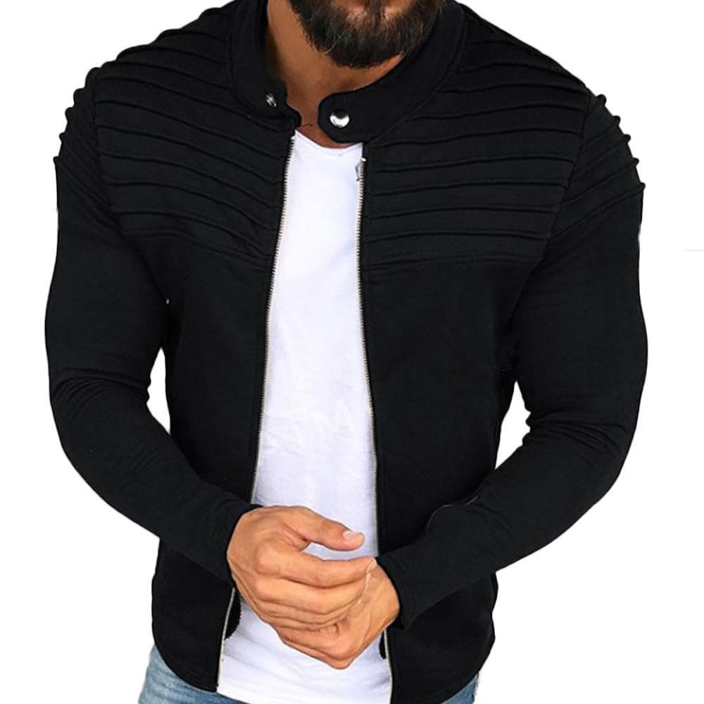 Compre Chaqueta De Invierno 2019 Otoño Streetwear Cortavientos Ropa Para  Hombre Pliegues Slim Stripe Fit Zipper Abrigo De Manga Larga A  9.27 Del  Jerry07 ... 58f6741dc07