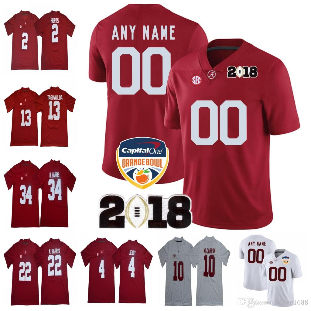 65020bba3 2019 Custom Alabama Crimson Tide 2018 NCAA Orange Bowl White Red Jersey  13  Tagovailoa Devonta Smith Henry Ruggs Harris Jeudy Waddle Championship From  ...