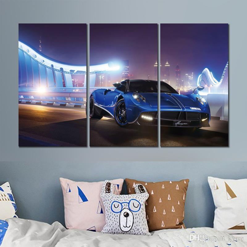 pagani huayra blue night canvas print arts pictures for dining room decor