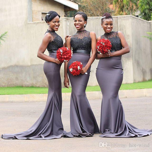 African Nigerian Mermaid Gray Bridesmaid Dresses Long 2020 Beaded Appliques Sleeveless Satin Prom Dress Wedding Party Gown