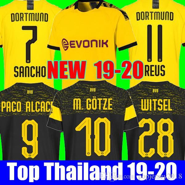 save off 3dfe9 db7be Thailand BVB Borussia Dortmund Soccer Jersey 2019 2020 PHILIPP GOTZE REUS  PULISIC WITSEL Jersey 18 19 20 PACO ALCACER Football kit shirt