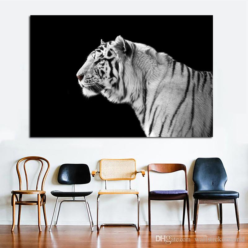 1 Piece Black and White Tiger Canvas Painting Wall Art Animal Pictures For Living Room Canvas Prints Modern Cuadros Decor No Frame